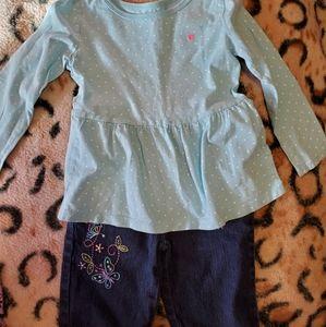 Toddler girls long sleeve top w/Bermuda shorts 4t